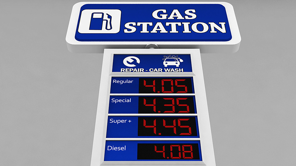 Gas station price sign totem low poly