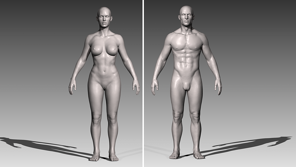 Realistic White Male and Female Bundle