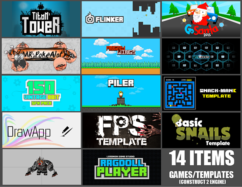 Construct 2 - Games/Template Bundle (14 Items)