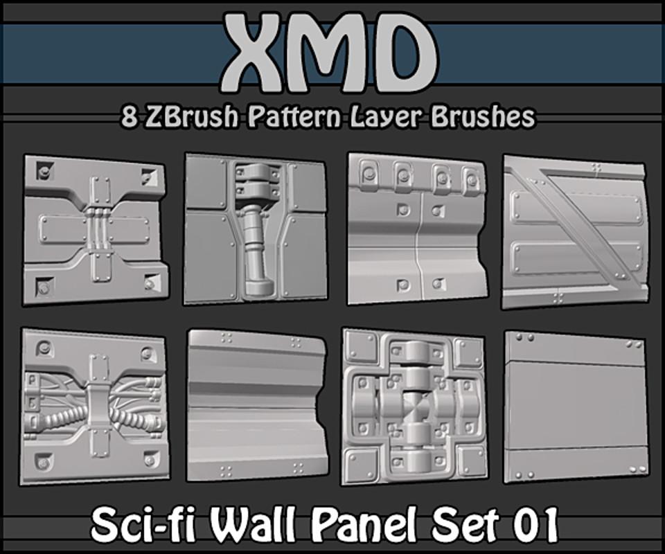 Free Zbrush Sci-fi Wall Panel Set 1