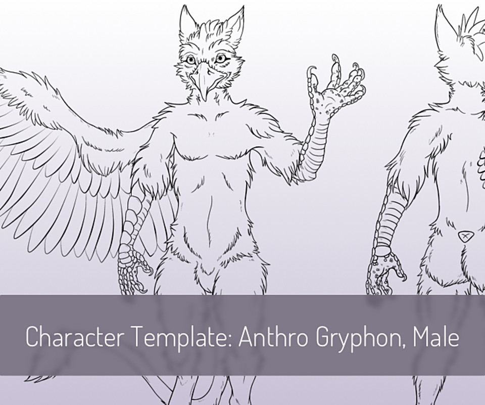 Character Template: Anthro Gryphon Male