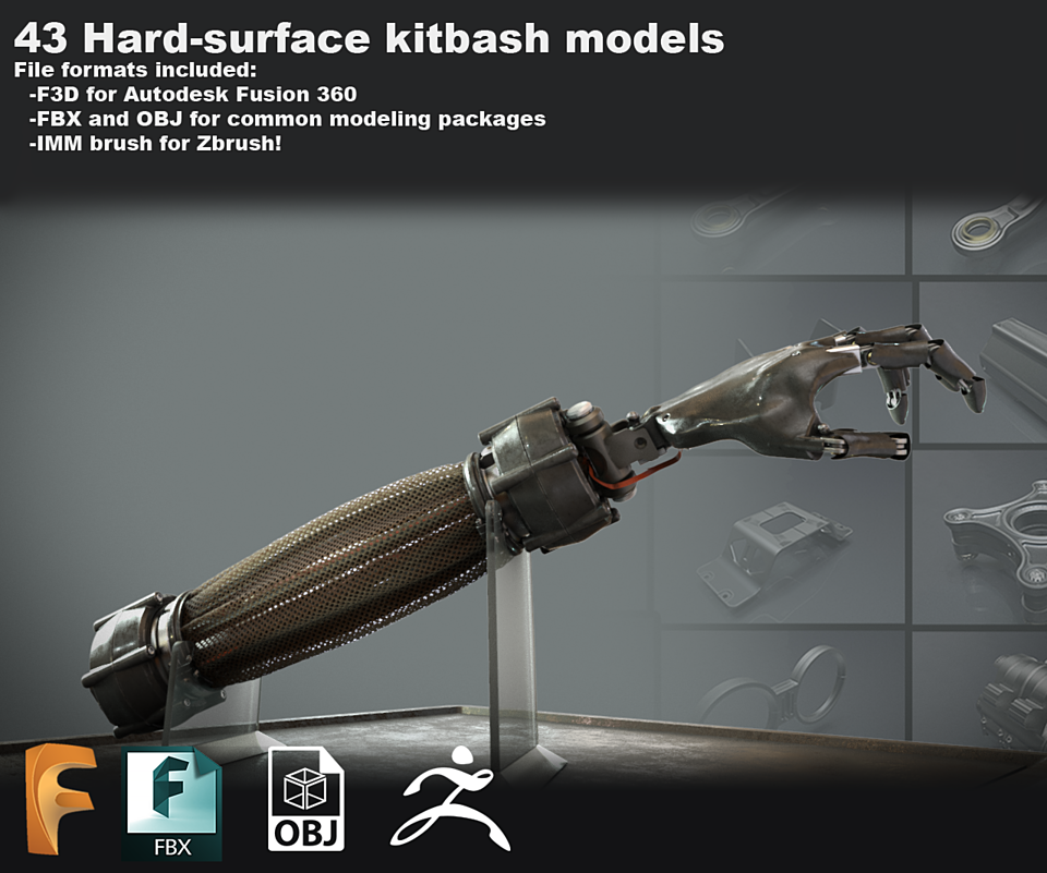 Free sci-fi kitbash set - Fusion 360 - Zbrush -