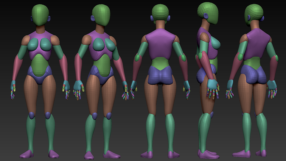stylized female small build base free for zbrush