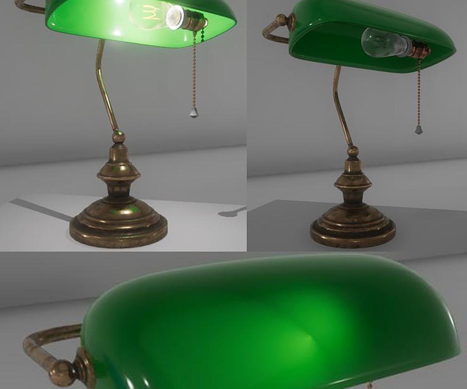 Free - Banker Lamp  FBX + UE4 asset