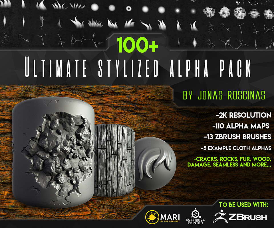 100+ Ultimate Stylized Alpha Pack by J Roscinas