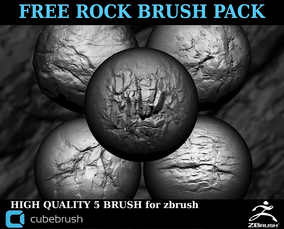 free rock brush pack for zbrush
