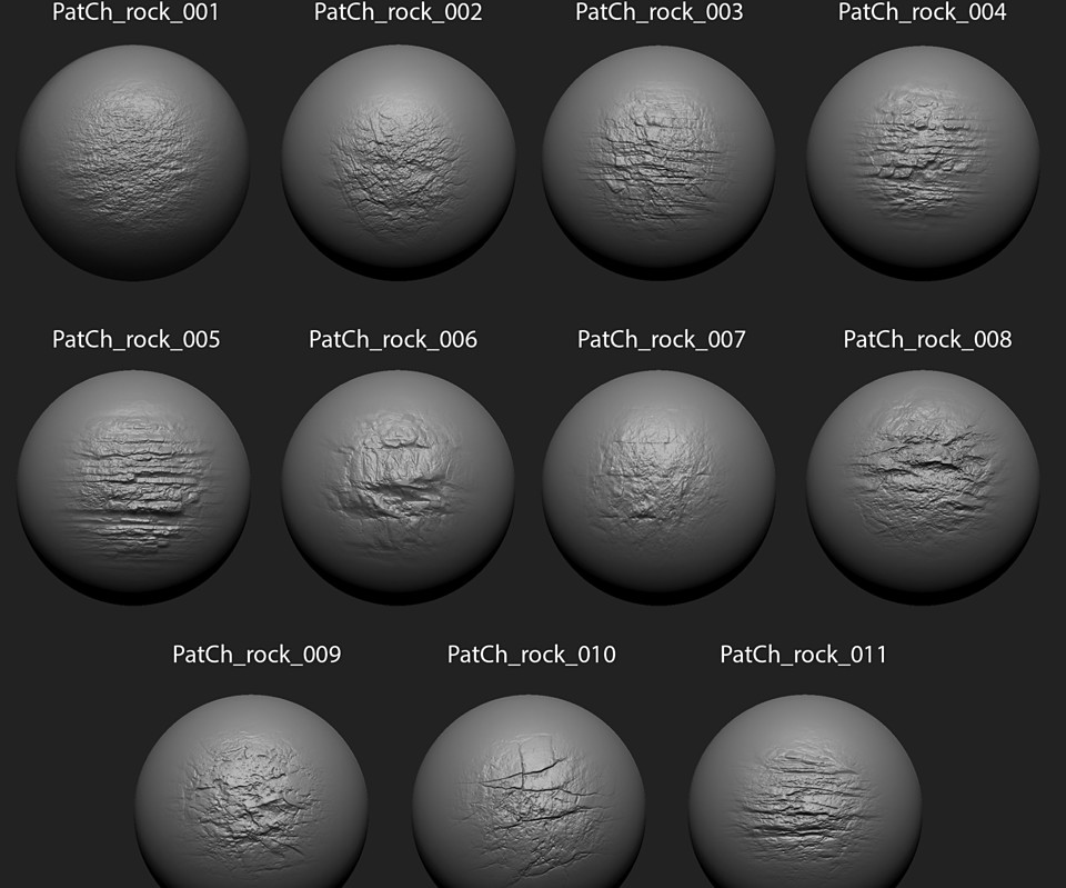 Zbrush Alpha Pack Rock Set1 for Free Texture