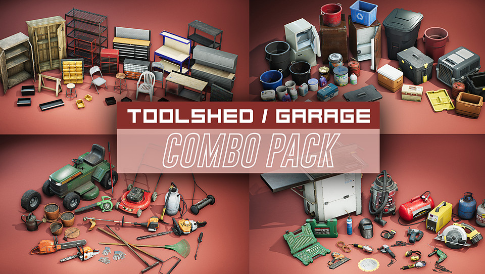 Toolshed / Garage Props COMBO PACK [UE4+Raw]