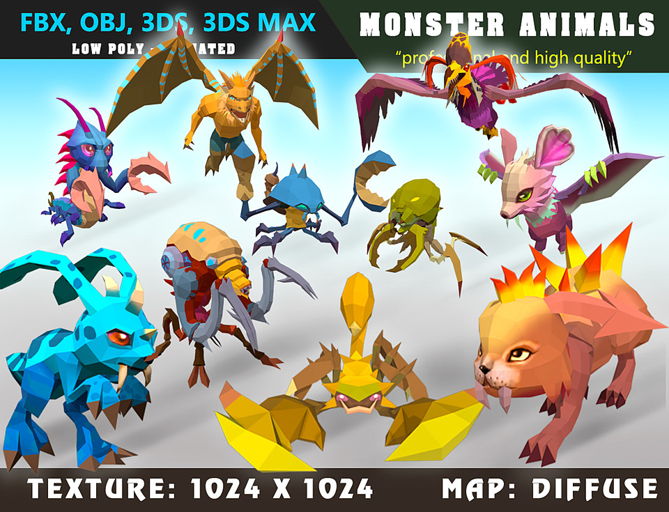 Low Poly Monster Cartoon Collection 01 - Animated