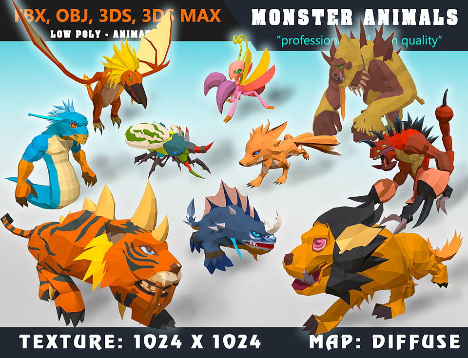 Low Poly Monster Cartoon Collection 02 - Animated