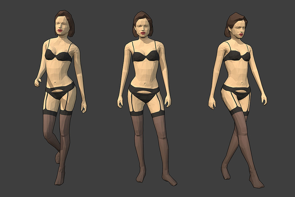 Rigged Lowpoly Female Character - Jane