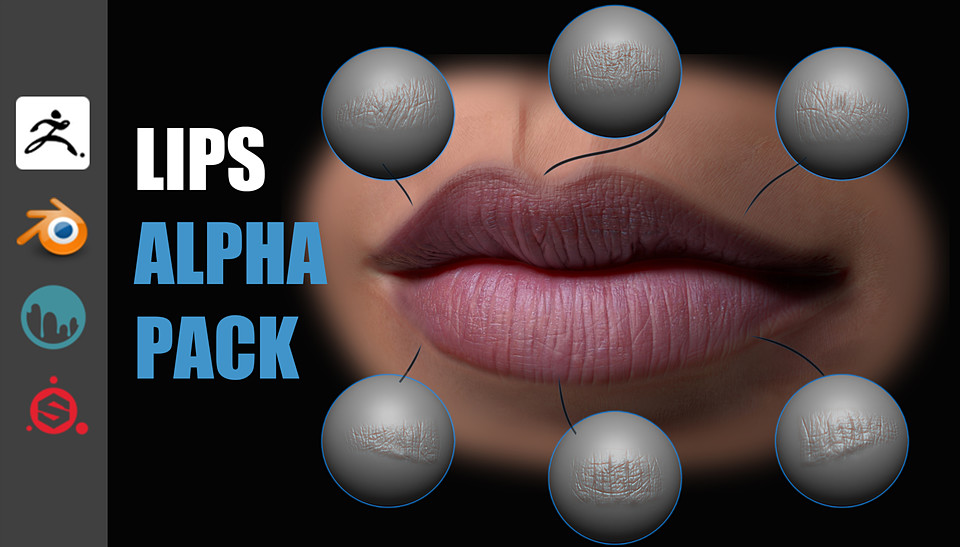 Lips Detail Alpha Pack for zBrush, Blender