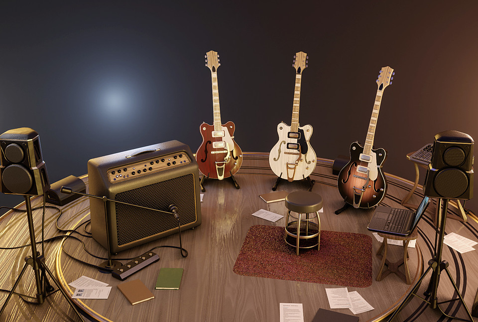 Guitars Stage - Blender Eevee + obj + fbx
