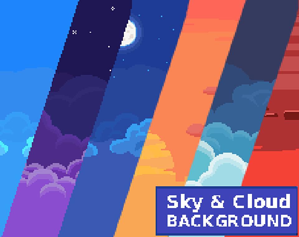 2D Pixel Art Backgrounds ( 10 Sky & Cloud )