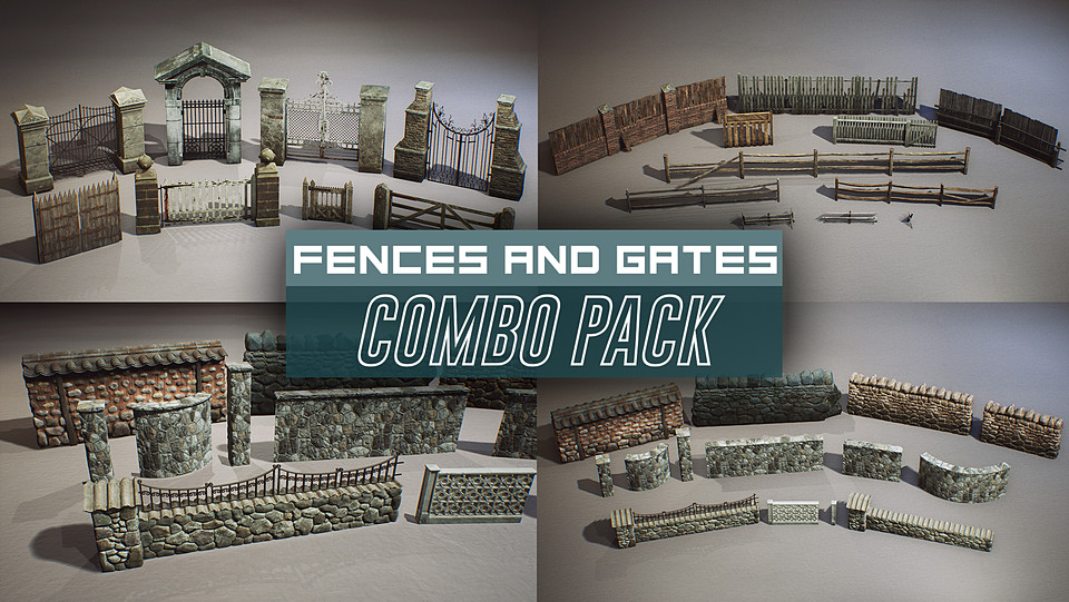 Old Gates and Fences Props COMBO PACK (UE4+RAW)