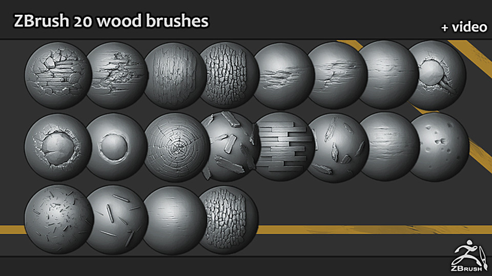 Zbrush - 20 Wood Brushes