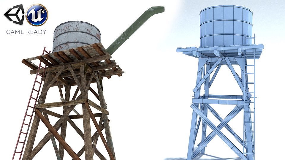 Low Poly Wild West Water Tank