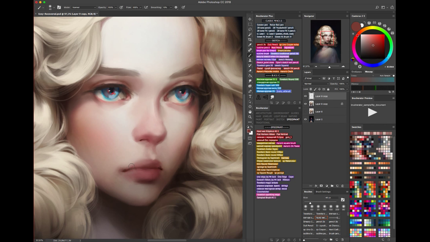 Hair brush pack + time lapse video