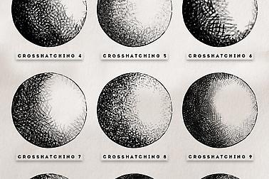 crosshatching procreate and photoshop brushes