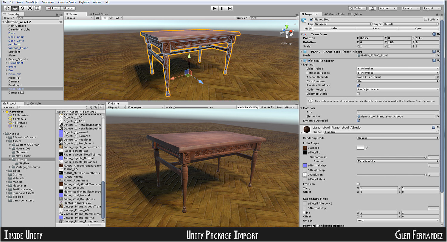 Old victorian wooden upright piano low poly