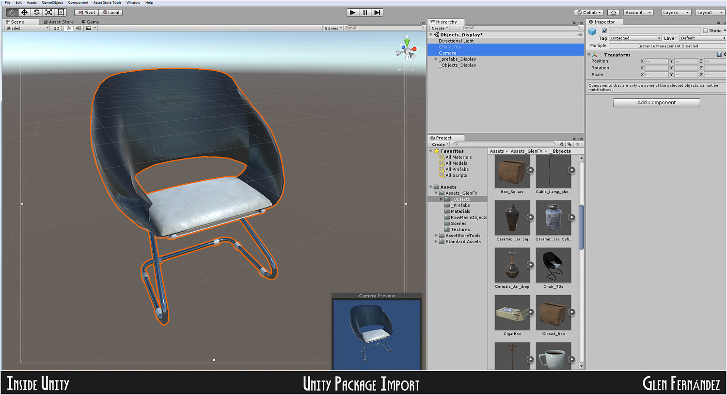 Low poly 70's retro vintage Chair