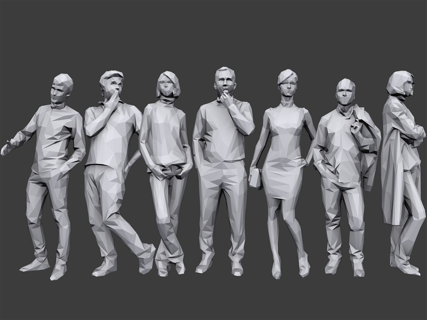 100+低多边形人物3D模型 Cubebrush – Complete Lowpoly People Pack Volume 1