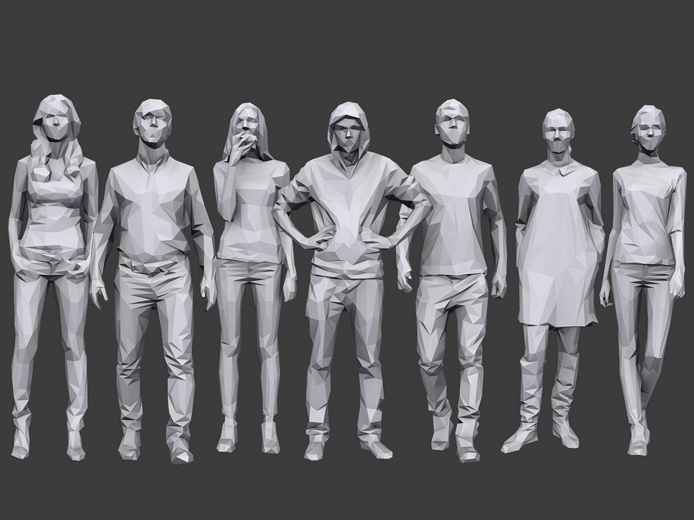 100+低多边形人物3D模型 Cubebrush – Complete Lowpoly People Pack Volume 2