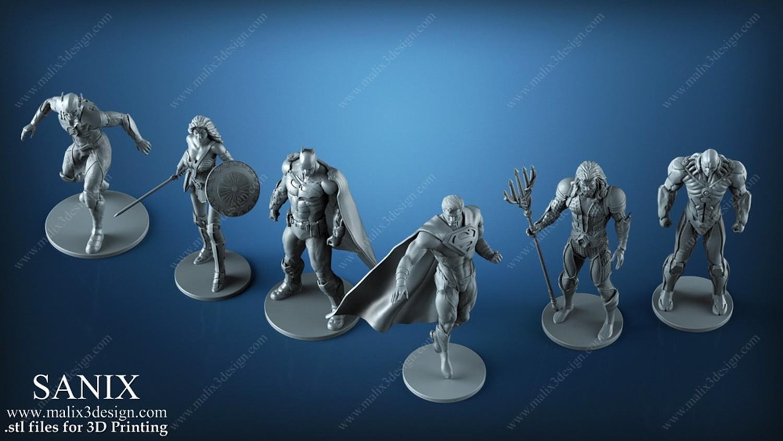 正义联盟高精度3D模型Justice League – 6 characters for 3D Printing