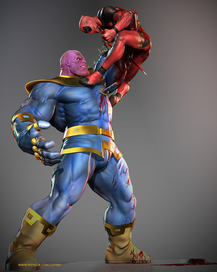 Vol 6 Props And Details Thanos Vs Deadpool Zbrush