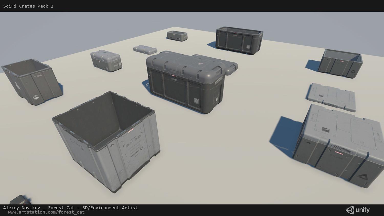 SciFi Crates Pack 1 [Unity] [UE4]
