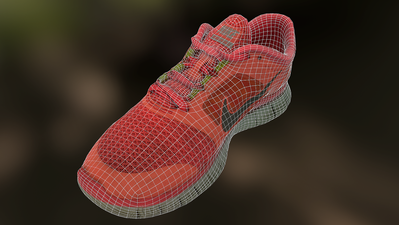 7437c11905bf Worn Nike Free Run 3 sneaker shoe low poly