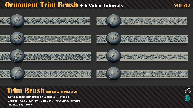 6 Video Tuts + Ornament Trim Brush and 3D Models