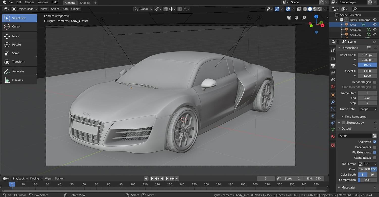 Audi R8 ( fbx -  obj -  blend Cycles & Eevee)